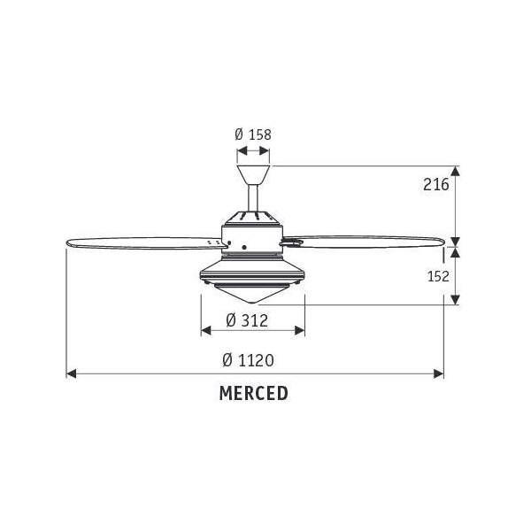 Wentylator sufitowy MERCED 112cm