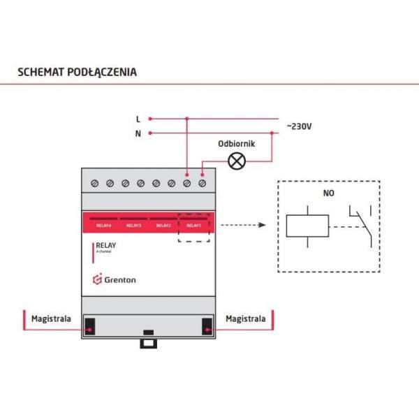 Grenton Moduł wyjść przekaźnikowych RELAY x4 DIN montaż na szynę DIN (schemat podłączenia)