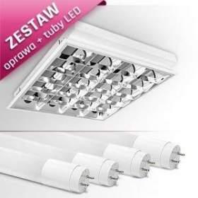 ZESTAW ! Oprawa podtynkowa RASTRA 104PPLED + 4 tuby LED T8 dzienna biała
