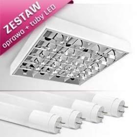 ZESTAW ! Oprawa natynkowa RASTRA 204PPLED + 4 tuby LED T8 ciepło biała