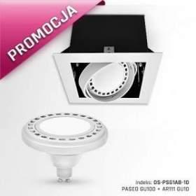 PROMOCJA !!! Oprawa PASEO GU100 + AR111 GU10 12W, barwa ciepła biała, obudowa biała