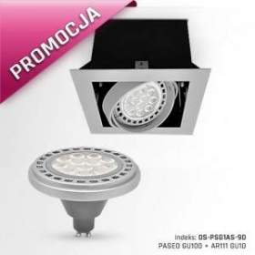 PROMOCJA !!! Oprawa PASEO GU100 + AR111 GU10 12W, barwa ciepła biała, obudowa szara