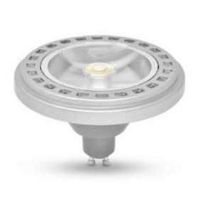 Żarówka AR111 GU10 LED COB 15W ciepło biała, obudowa srebrna