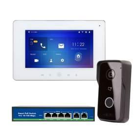 """Zestaw wideomofonowy z monitorem 7"""" IP Android P2P zasilanie PoE"""