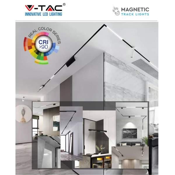 V-TAC Oprawa Szynosystemu Magnetycznego   15W 24V LED Czarna CRI90+ UGR&lt19 3000K 1000lm VT-4315 3 Lata Gwarancji