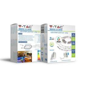 V-TAC Taśma LED   Zestaw RGB Set Light Kit W/Remote 12V IP20