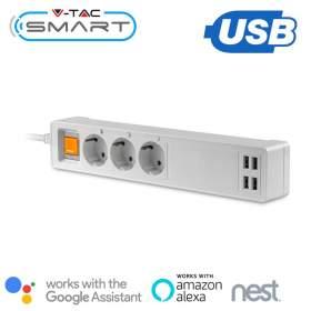 V-TAC Listwa Przedłużacz 3-gniazda 4 Porty USB   WiFi Amazon Alexa, Google Home, Nest VT-5018