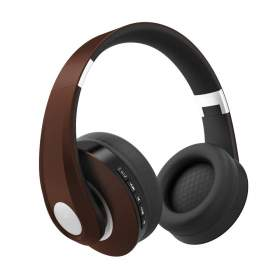 V-TAC Bezprzewodowe Słuchawki Bluetooth Regulowany Pałąk 500mAh Brązowe VT-6322