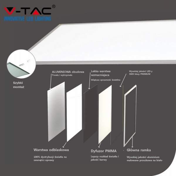 V-TAC Panel LED   45W 600x600 VT-6060 4000K 3600lm PMMA z układem awaryjnym 3h