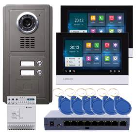 LEELEN Wideodomofon TCPIP 2-rodzinny, czarny 7cali dotykowy ekran / pamięć / czytnik