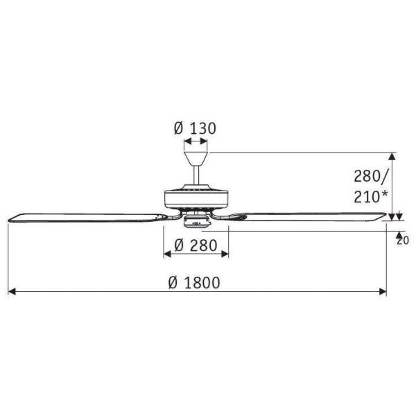 Wentylator sufitowy ROYAL CHROM 180 CM